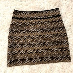 Ann Taylor Loft Work Skirt Chevron Lined